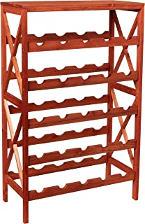 Rustic Wine Rack-Space Saving Free Standing Wine Bottle Holder for Kitchen, Bar, Dining or Living Rooms- Classic Storage S...