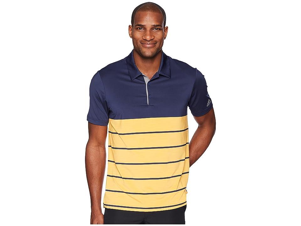 adidas Golf Ultimate Heather Stripe Polo (Noble Indigo/Real Gold) Men