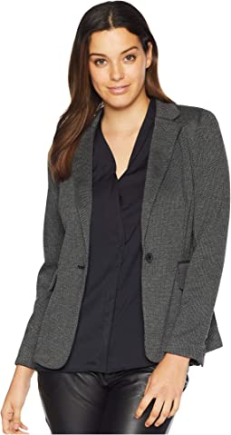 Melange Herringbone One-Button Blazer