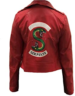 Cosplay Life Serpents Motorcycle Gang Women's Red Vegan Leather Jacket
