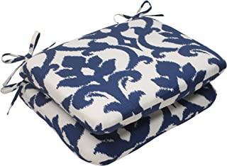 """Pillow Perfect Outdoor/Indoor Basalto Navy Round Corner Seat Cushions, 18.5"""" x 15.5"""", Blue, 2 Count"""