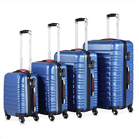 Set de 4 valises rigides Bleu S/M/L/XL 4 Roues 360° Bagage poignée télescopique Plastique ABS Serrure Cadenas à Combinaison Chiffres Malle Voyage léger Vacances