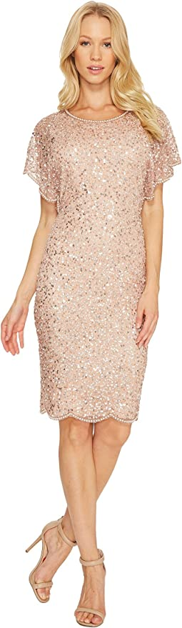 Flutter Sleeve Beaded Cocktail Dress with Pearl Edge Detail
