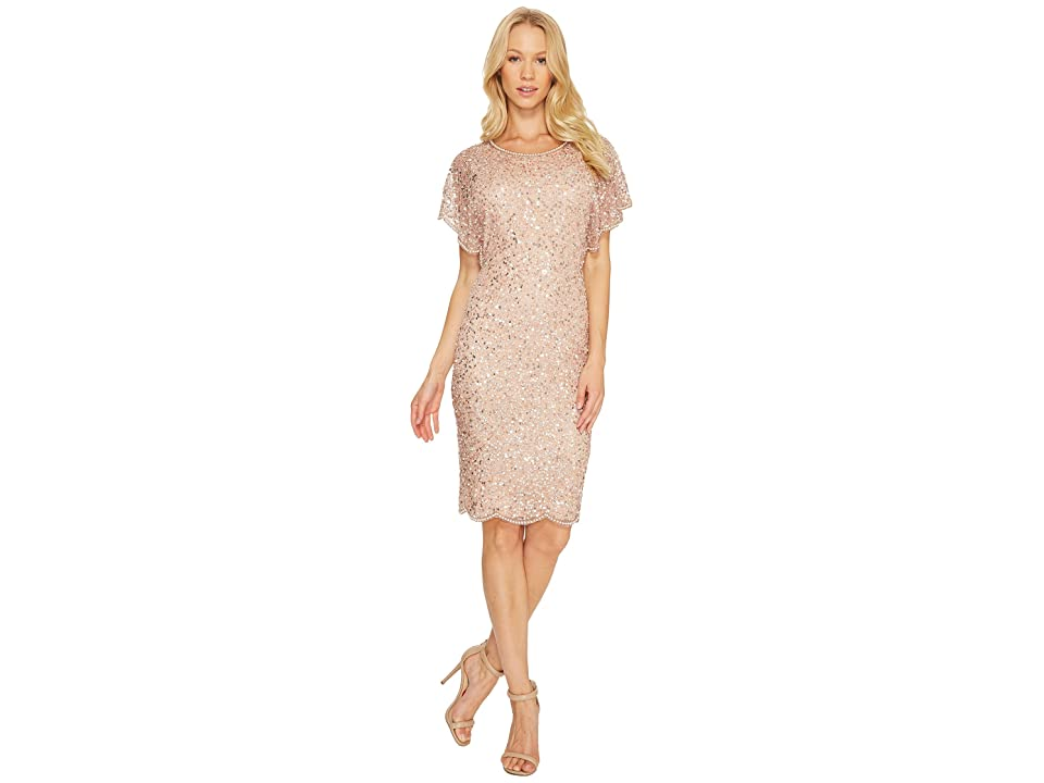 Adrianna Papell Flutter Sleeve Beaded Cocktail Dress with Pearl Edge Detail (Rose Gold) Women