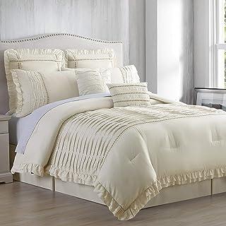 Amrapur Overseas Antonella 8-Piece Pleated (King, Sand) Comforter Set, Beige
