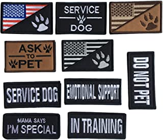Bundle 10 Pieces Dog Patches for Service Dog Vest Removable Tactical Hook Loop Fastener Harness Patch Set of American Flag...