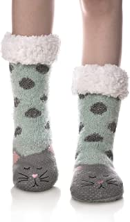 Women Winter Socks Knit Anti-Slip Sweat Warm Cute Cartoon Animals Fuzzy Home Slipper Socks