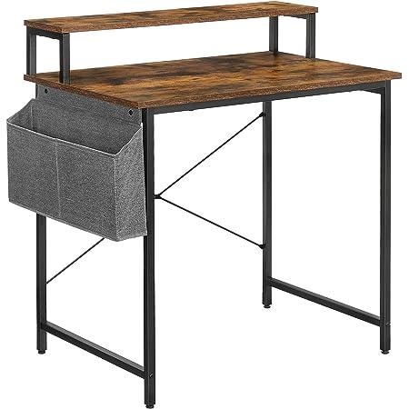 VASAGLE Bureau Informatique, Table d'étude, avec avec Support écran, Sac de Rangement en Tissu, Barres en X, Pieds réglables, 85 x 55 x 90 cm, Style Industriel, Marron Rustique et Noir LWD080B01