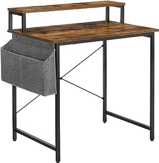 VASAGLE Bureau Informatique, Table d'étude, avec avec Support écran, Sac de Rangement en Tissu, Barres en X, Pieds réglabl...