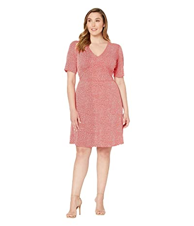 MICHAEL Michael Kors Plus Size Mosaic Texture V-Neck Dress (Bright Ruby) Women