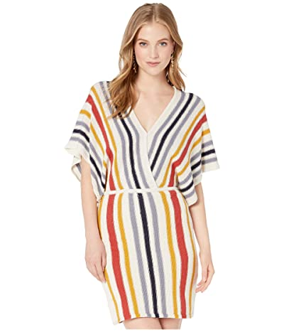 Cupcakes and Cashmere Frances Striped Sweater Knit Dolman Dress (Oatmeal) Women