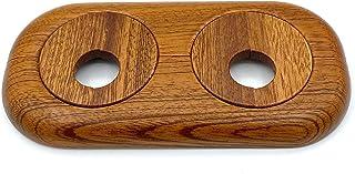5 Piezas de rosetas dobles para tubos de calefacción, madera maciza, tubo diámetros: 15 mm 19 mm 22 mm rosetones protectoras radiador cubiertas, madera de arce haya roble nuez (15mm, caoba)