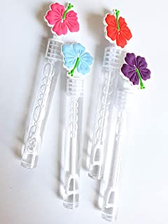 Hawaiian Flower Bubbles Party Favors, Hibiscus Charms Celebrations Birthday Bridal Shower Baby Shower Lai Hawaii Theme Supplies Girls Boys Gift Kids Clear Mini Bottle Wands Non Toxic