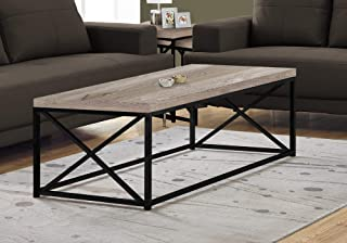 """Monarch Specialties Coffee Table - Modern Cocktail Table with Metal Base, 44"""" L (Taupe)"""