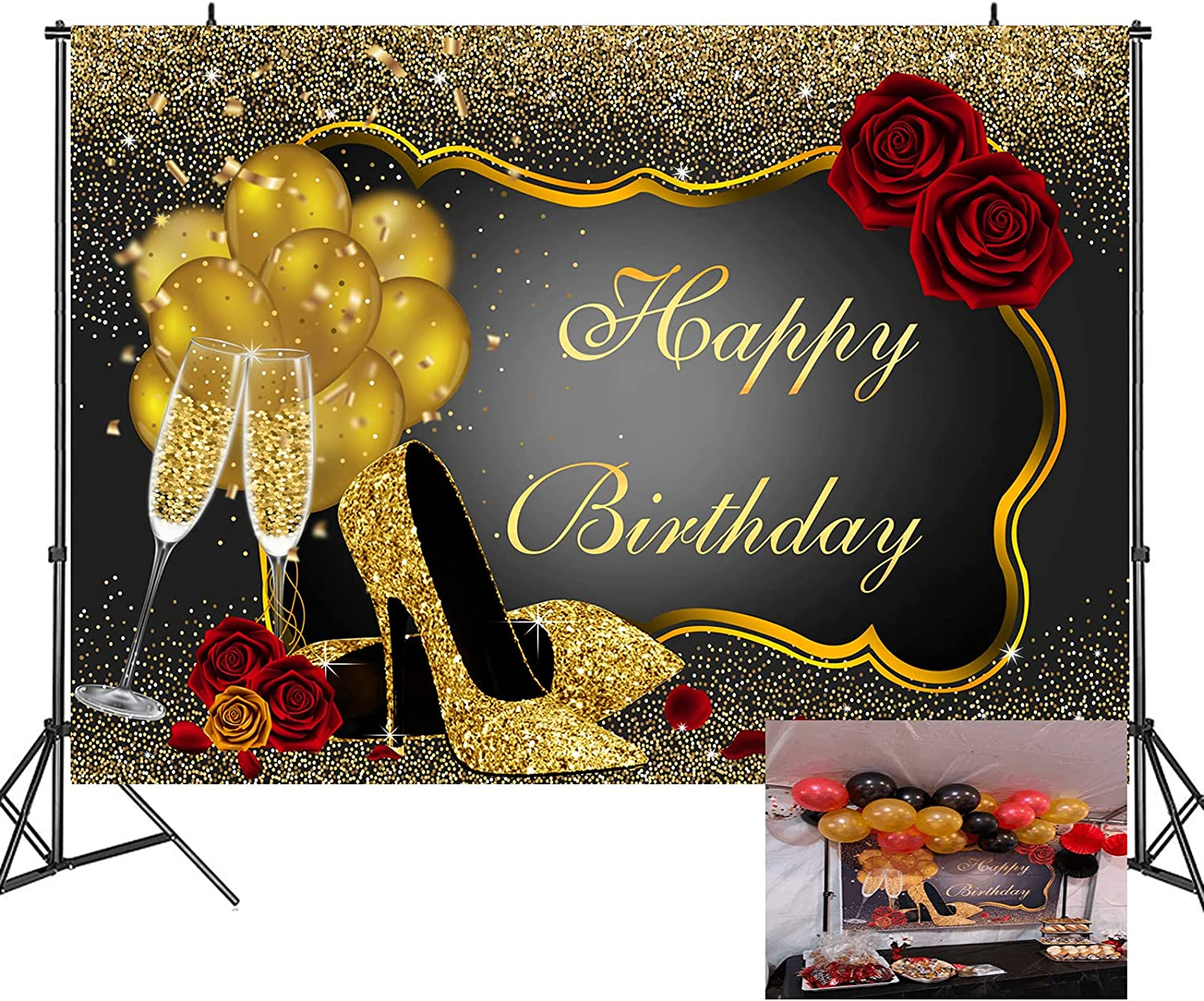 Gold Glitter Happy Birthday Backdrop Sparkle Sequin High Heels Champagne Glass Photography Background for Adult Women Red Rose Balloons Birthday Party Decorations,Banner Photo Booth Backdrops 7x5ft