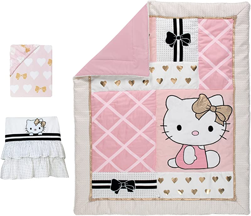 Lambs Ivy Hello Kitty Hearts 3 Piece Crib Bedding Set Pink Gold