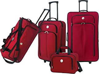 """Travelers Club 4 Piece BEST VALUE Expandable Luggage and Accessories Set with 26"""" Suitcase, 24"""" Rolling Duffel, 20"""" Carry-On Luggage, and 14"""" Boarding Tote, Red Color Option"""
