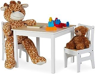 Relaxdays Mesa Infantil con Dos sillas, Mobiliario de Interior, Set de Muebles, MDF, Blanco/marrón