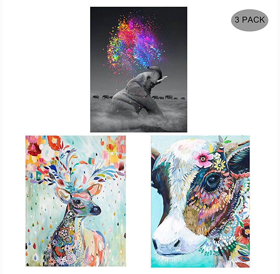 5D Diamond Painting Kit Full Drill,EVERMARKET DIY Rhinestone Embroidery Cross Stitch Arts Craft Wall Decor Gift, 11.8''X15.7'' (3 Pack-Colorful Cow,Colorful Deer,Elephant)