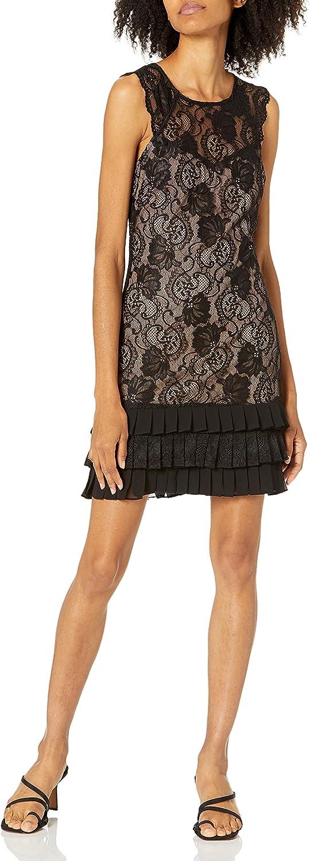 kensie Women's Black Nude Floral Lace Flapper Dress