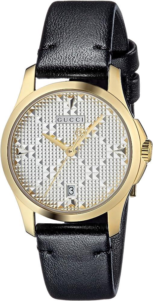 Gucci orologio classico da donna, con cinturino in pelle, e cassa in acciaio inossidabile in pvd oro giallo YA126571
