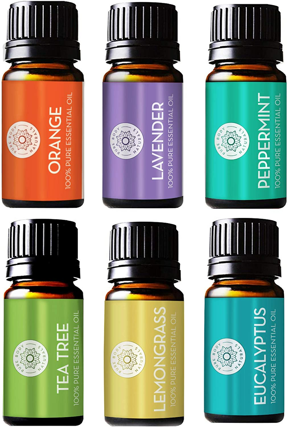 Pure Body Natural Aromatherapy Diffuser Oils Set