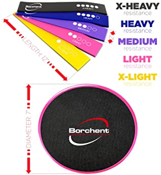 Core Sliders and 5 Resistance Bands for Fitness Equipment for Home for Intense, Low-Impact Exercises to Strengthen Co...