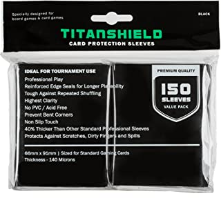TitanShield (150 Sleeves / Black Standard Size Board Game Trading Card Sleeves Deck Protector for Magic The Gathering MTG,...