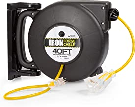 40 Ft Retractable Extension Cord Reel - 2 In 1 Mountable & Portable Power Cord Reel with 3 Electrical Outlets - 12/3 SJTW Heavy Duty Yellow Cable - Perfect for Hanging from Your Garage Ceiling