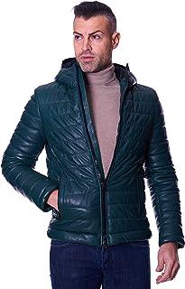 D'Arienzo Piumino in Pelle Verde Uomo con Cappuccio Giaccone Invernale Cappotto Vera Pelle Made in Italy TEO