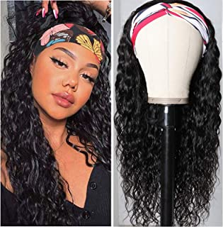 UNice Hair Water Wave Headband Wig Human Hair Glueless Wig None Lace Front Wig Brazilian Virgin Hair Natural Color for Bla...