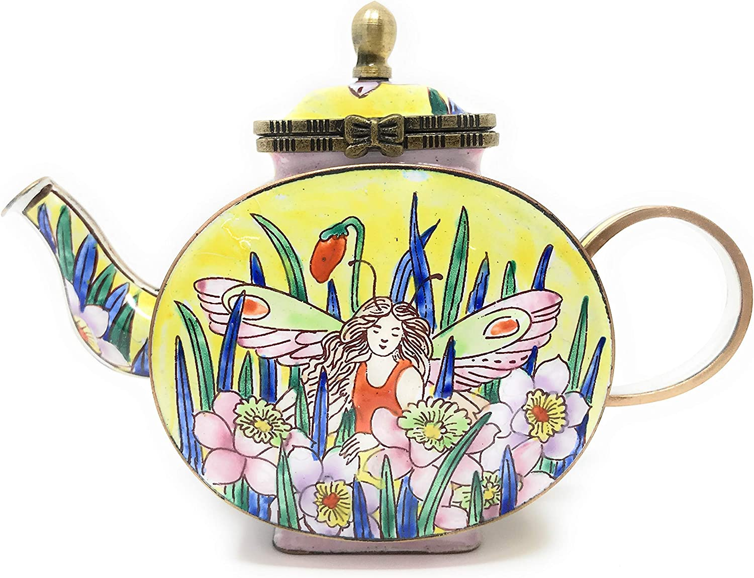 Kelvin Chen Garden Fairy Enameled Miniature Teapot with Hinged Lid, 4.75 Inches Long
