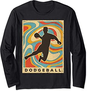 Vintage Dodgeball Sport Retro Poster Gift Long Sleeve T-Shirt