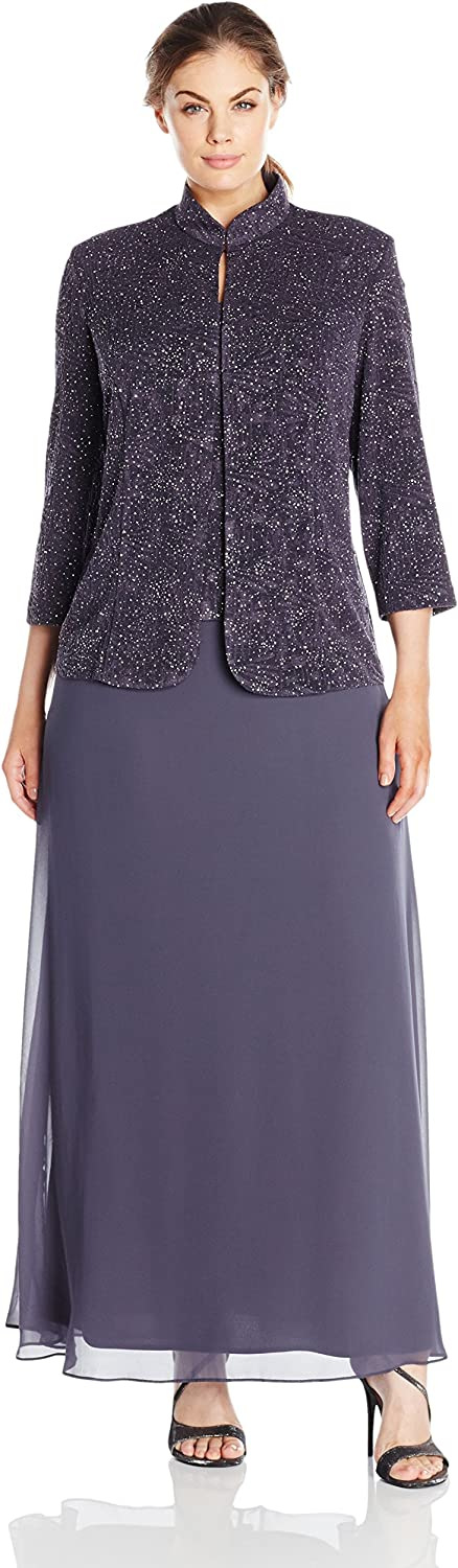 Alex Evenings Women's PlusSize Jacquard Knit Long Dress and Manadrin Jacket