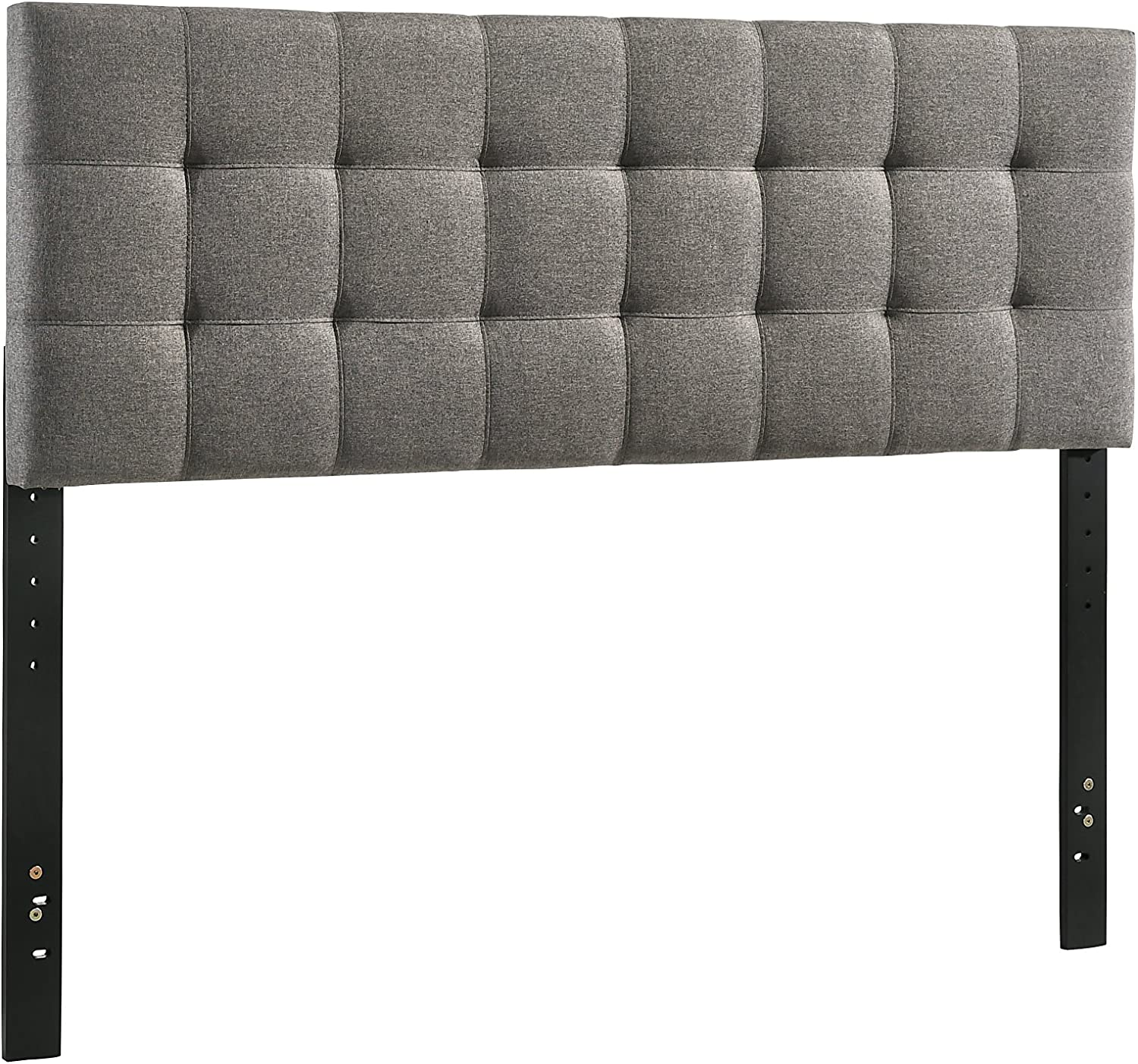 Furniture World Henri Classic Tufted Upholstered Headboard, Twin, Charcoal (Footboard and Side Rails Sold Separately)