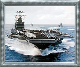 Impact Posters Gallery Aircraft Carrier Picture Framed Wall Decoration USS John C. Stennis Navy Ship Military Silver Art Print