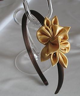 Cerchietto Kanzashi con decoro color oro
