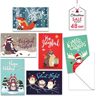 Christmas Cards with Envelopes, 48-Count Christmas Cards Boxed, 6 Woodland Animal Designs, 4 x 6 Inches, Blank Inside Chri...