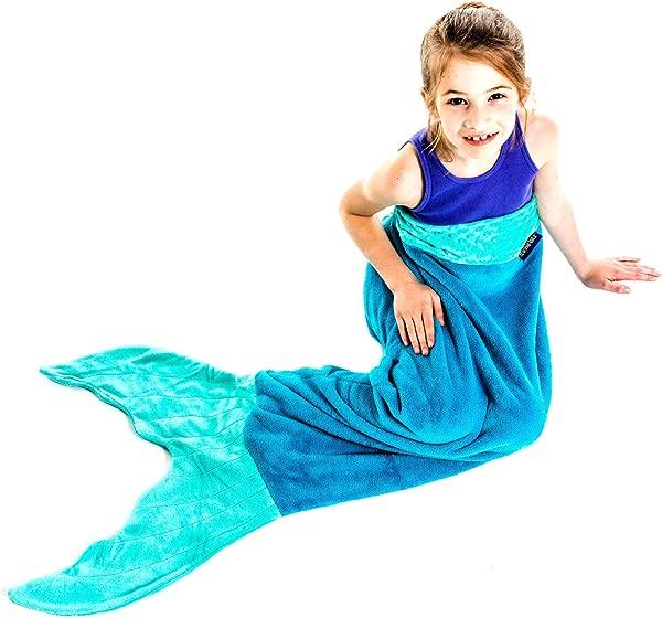 The Original Blankie Tails Mermaid Tail Blanket Youth Size Ocean Blue Aqua