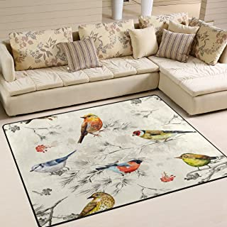 alaza Watercolor Forest Bird Area Rug Rugs for Living Room Bedroom 7' x 5'