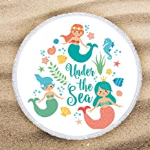 ARIGHTEX Little Mermaid Beach Towel Round Beach Towels for Girls Turquoise Ocean Decor Beach Roundie Fringe Beach Gifts for Women