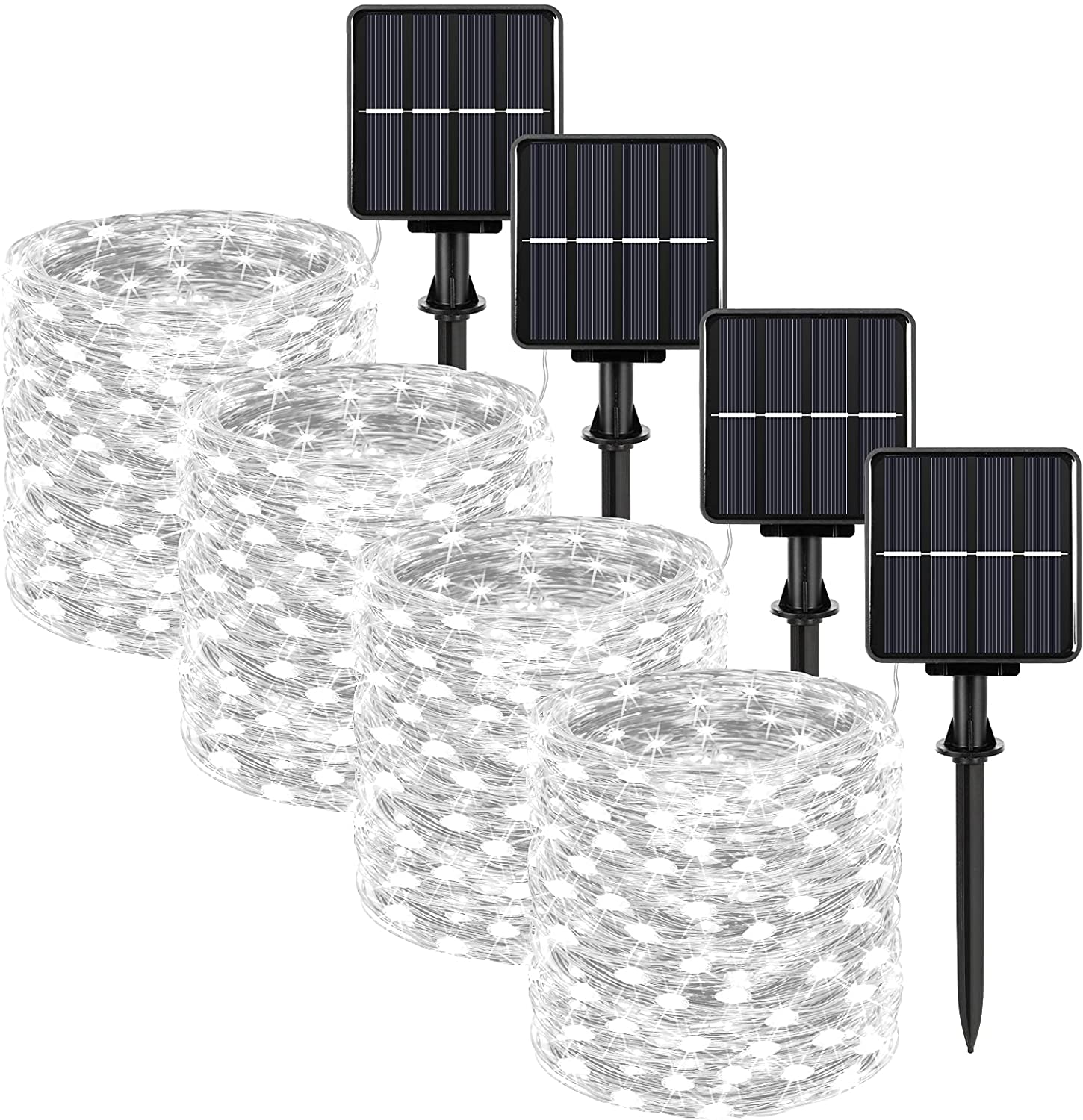 Extra-long 288FT Solar Fairy String Lights, 4-Pack Each 72FT 200 LED Outdoor Twinkle Lights Waterproof 8 Lighting Modes Daylight White Silver Wire Lights for Deck Backyard Tree Garden Fence Pool Party
