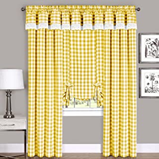Woven Trends Farmhouse Curtains Kitchen Décor, Buffalo Plaid Valance, Classic Country Plaid Gingham Checkered Design, Farmhouse Décor, Window Curtain Treatments (Yellow, 42