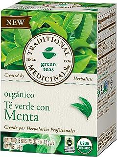 Traditional Medicinals, Té Verde Orgánico Con Menta, 24 Gr., 16 Bolsitas De Té