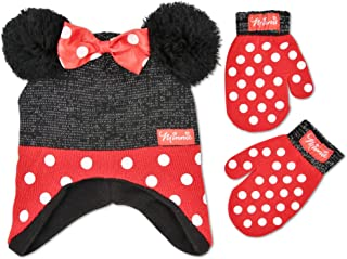 Girls' Toddler' Minnie Mouse Polka Dot Hat and Mittens Cold Weather Set, red/black, Age 2-4