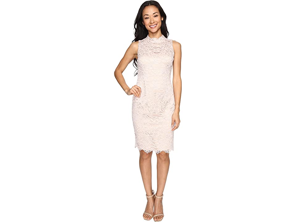 Vince Camuto Lace High Neck Bodycon Dress (Blush) Women