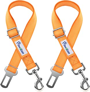 PAWABOO Pet Car Seat Belt, 2 Packs Universal Adjustable Durable Nylon Safety Leash Leads Vehicle Auto Seatbelt Harness Travel Strap with Safe Buckle for Dog Cat, Large Size(19.68-32.28 inch)