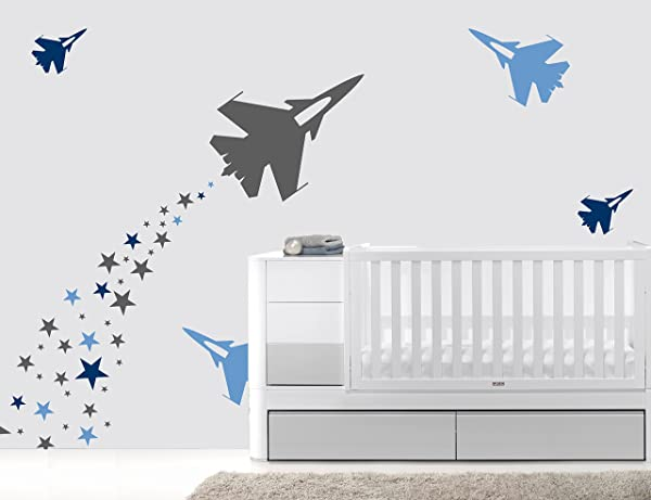 Airplanes And Stars Baby Boy Wall Decal Nursery For Home Bedroom Children 70 Ene Wide 30 X20 Height