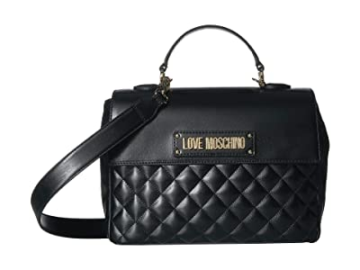 LOVE Moschino Quilted Top-Handle Bag (Nero) Handbags