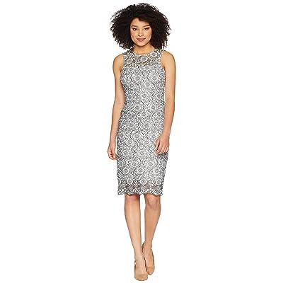Calvin Klein Lace Sheath Dress CD8L54CY (White/Black) Women